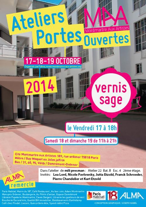 invitation Portes ouvertes de Montmartre aux artistes